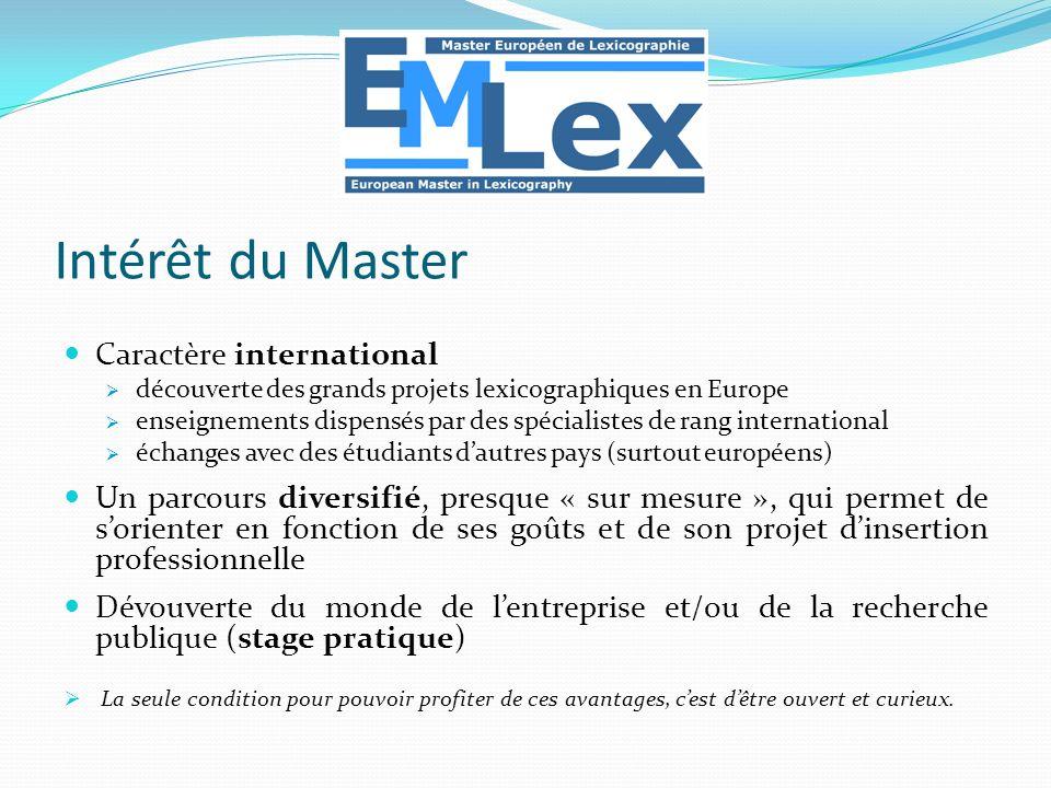 Intérêt du Master Caractère international