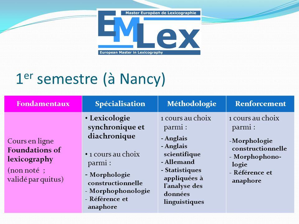 1er semestre (à Nancy) Fondamentaux Spécialisation Méthodologie