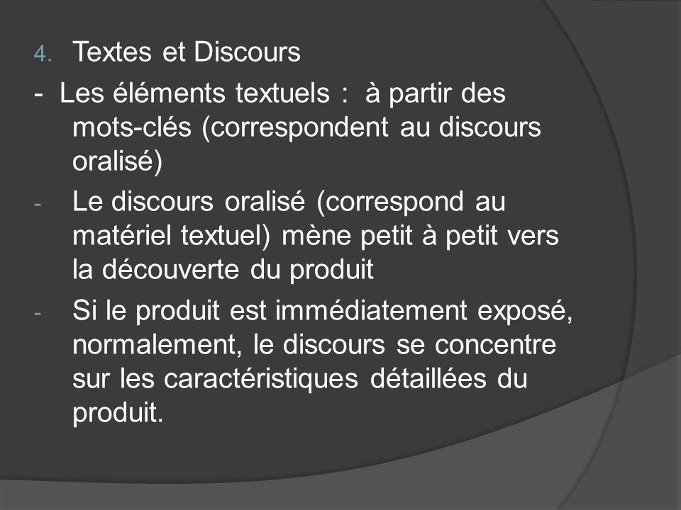 Textes et Discours - Les éléments textuels : à partir des mots-clés (correspondent au discours oralisé)