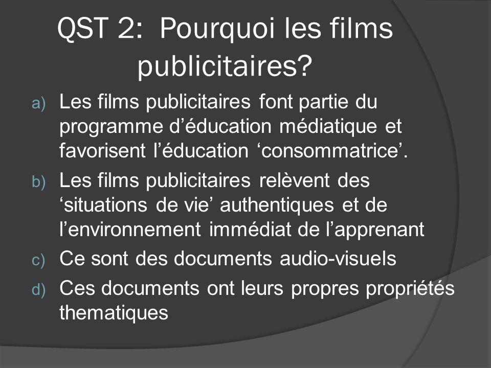 QST 2: Pourquoi les films publicitaires