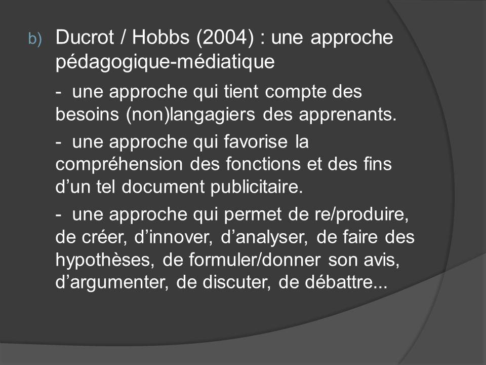 Ducrot / Hobbs (2004) : une approche pédagogique-médiatique