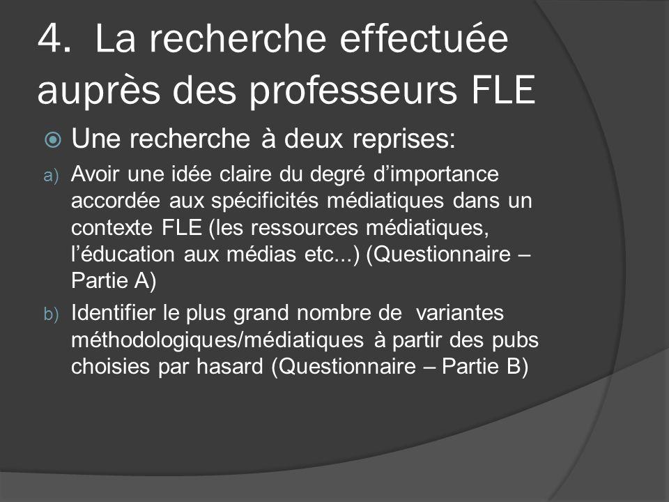 4. La recherche effectuée auprès des professeurs FLE