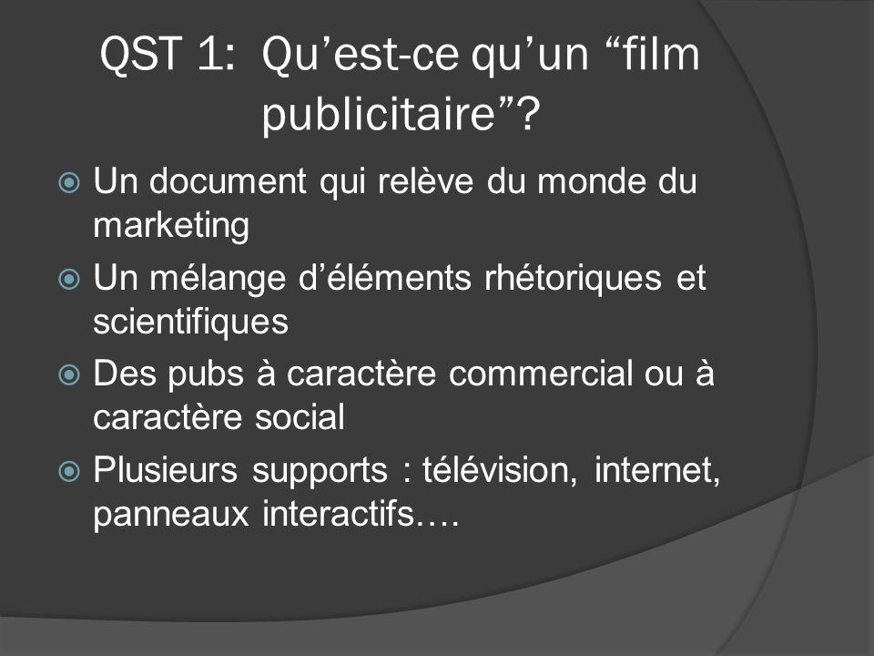 QST 1: Qu'est-ce qu'un film publicitaire