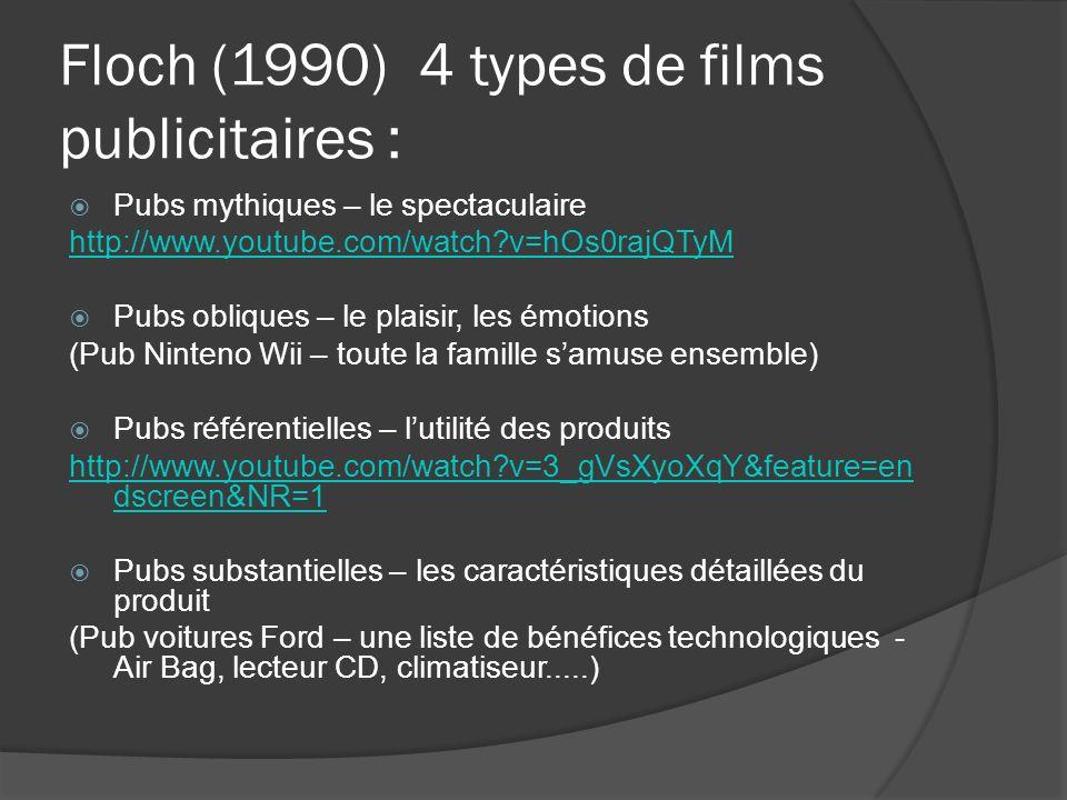 Floch (1990) 4 types de films publicitaires :