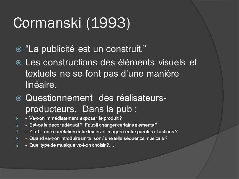 Cormanski (1993) La publicité est un construit.