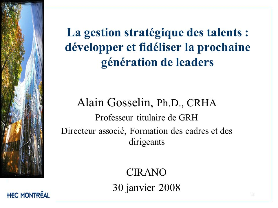 Alain Gosselin, Ph.D., CRHA