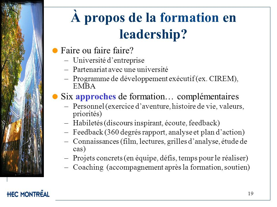 À propos de la formation en leadership