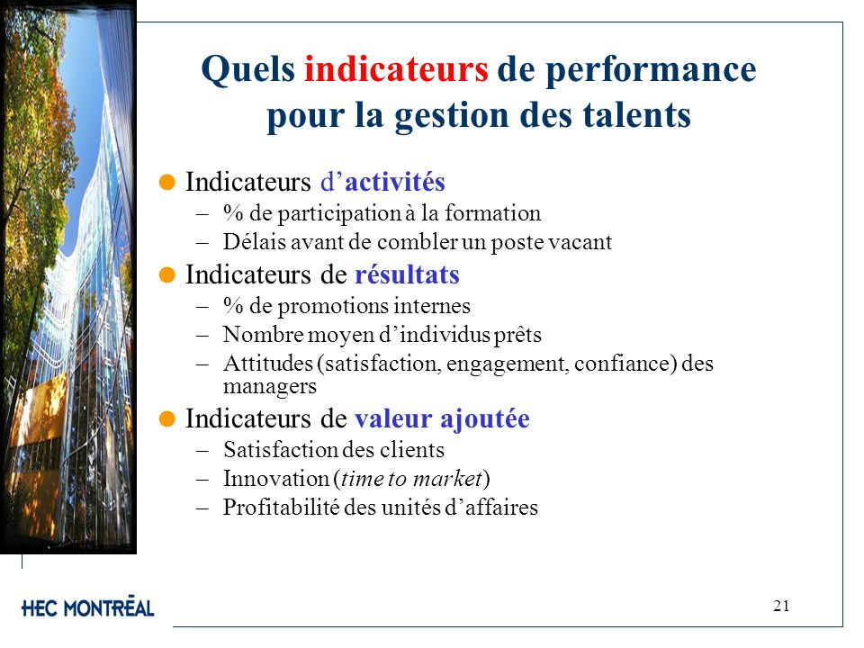 Quels indicateurs de performance pour la gestion des talents