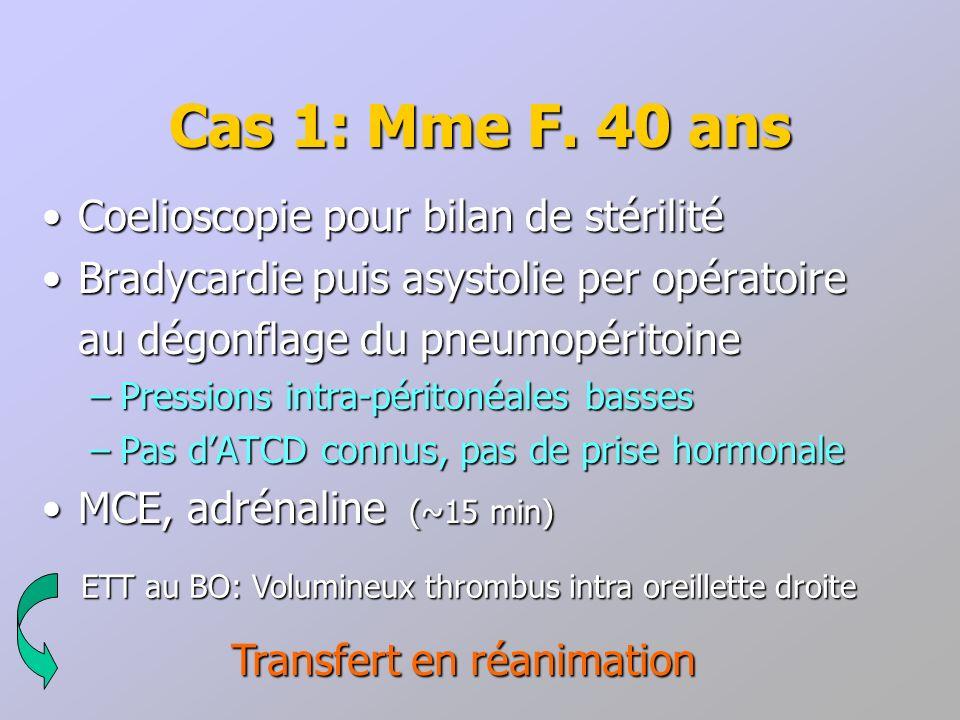 Cas 1: Mme F. 40 ans Coelioscopie pour bilan de stérilité