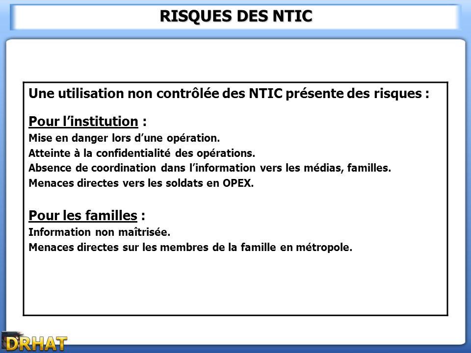 RISQUES DES NTIC Une utilisation non contrôlée des NTIC présente des risques : Pour l'institution :