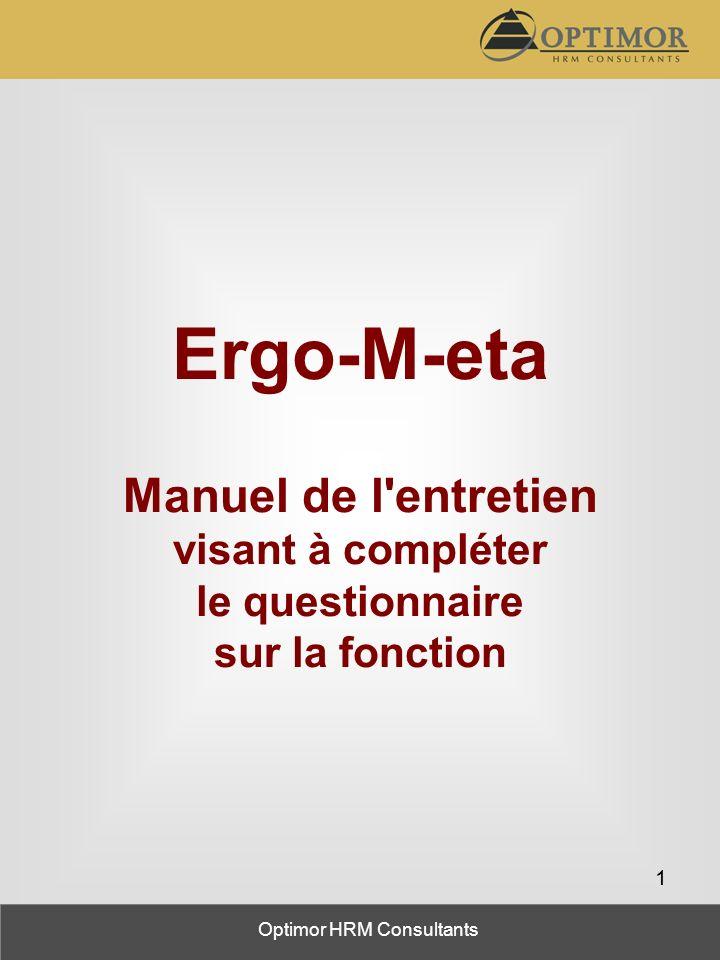 Ergo-M-eta Manuel de l entretien visant à compléter le questionnaire