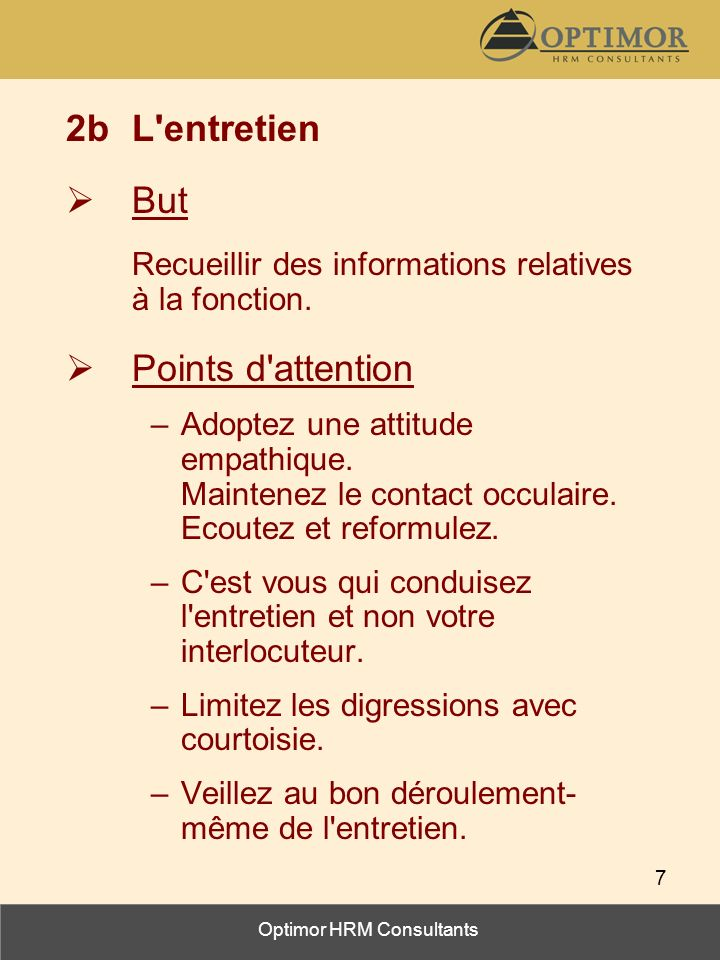 2b L entretien But Points d attention