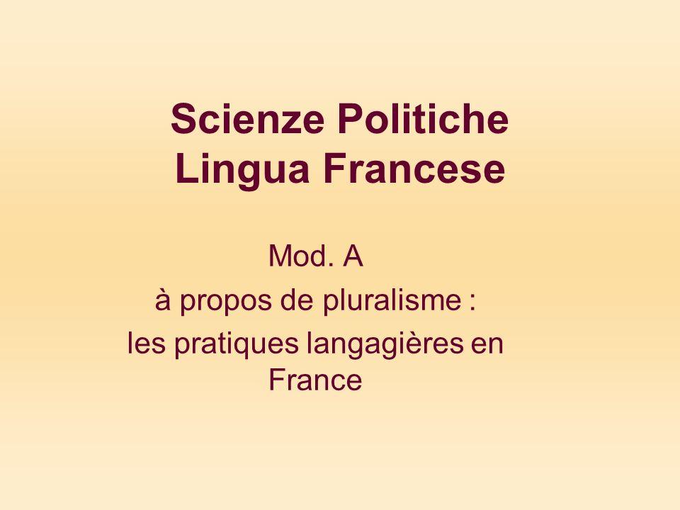 Scienze Politiche Lingua Francese