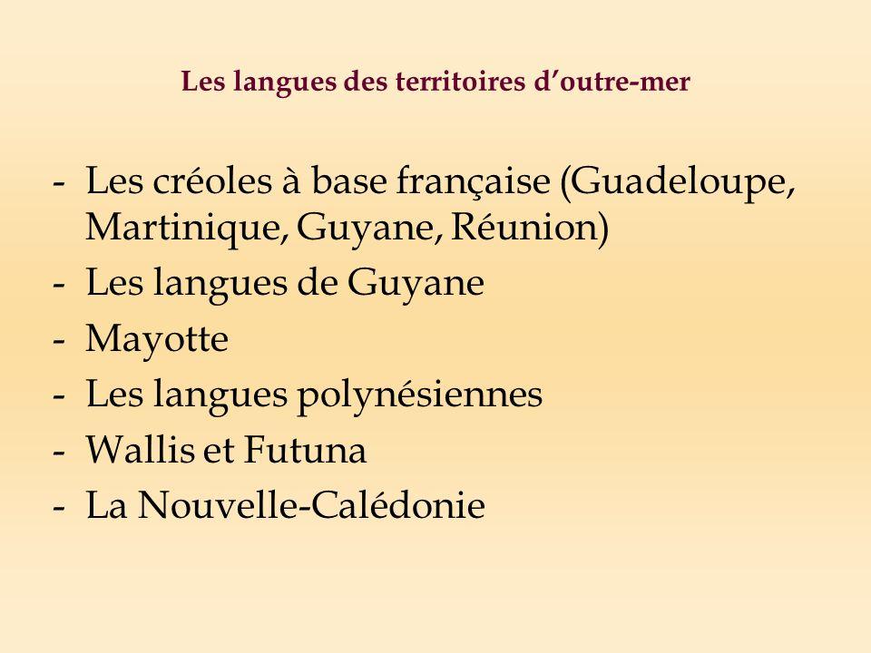 Les langues des territoires d'outre-mer