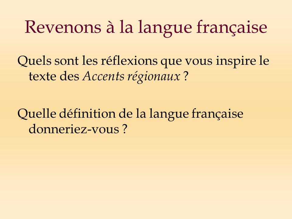 Revenons à la langue française