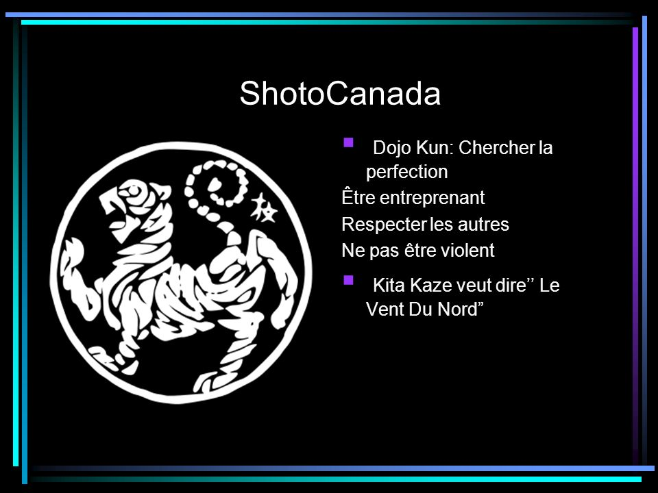 ShotoCanada Dojo Kun: Chercher la perfection