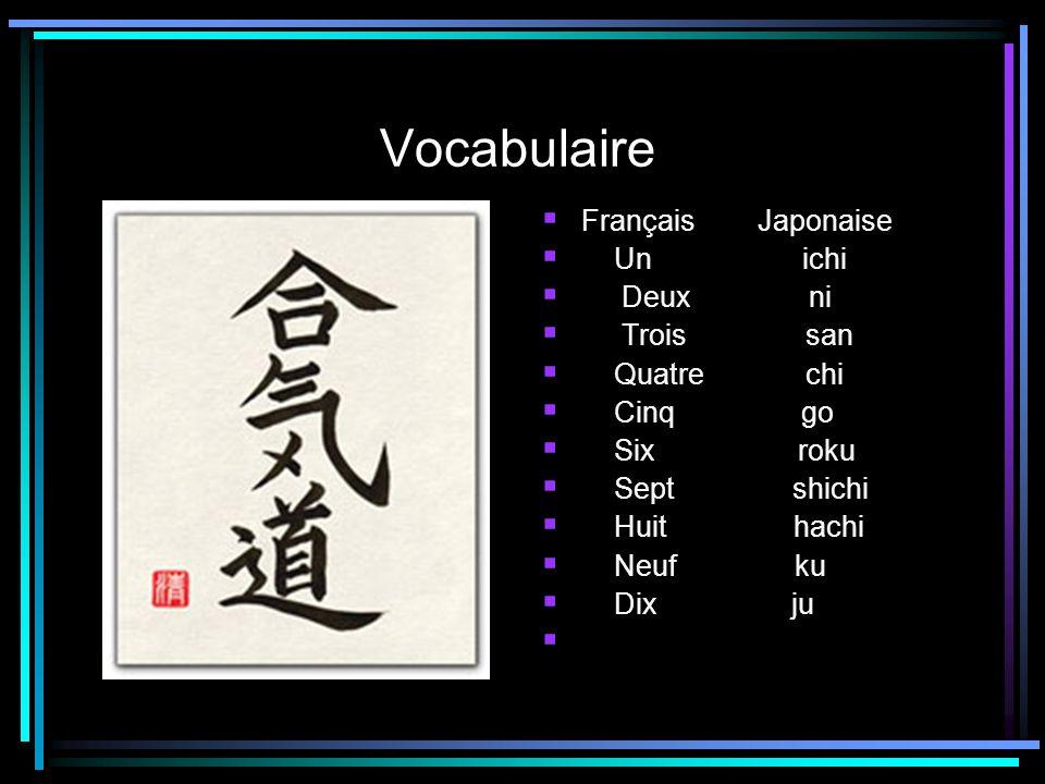 Vocabulaire Français Japonaise Un ichi Deux ni Trois san Quatre chi