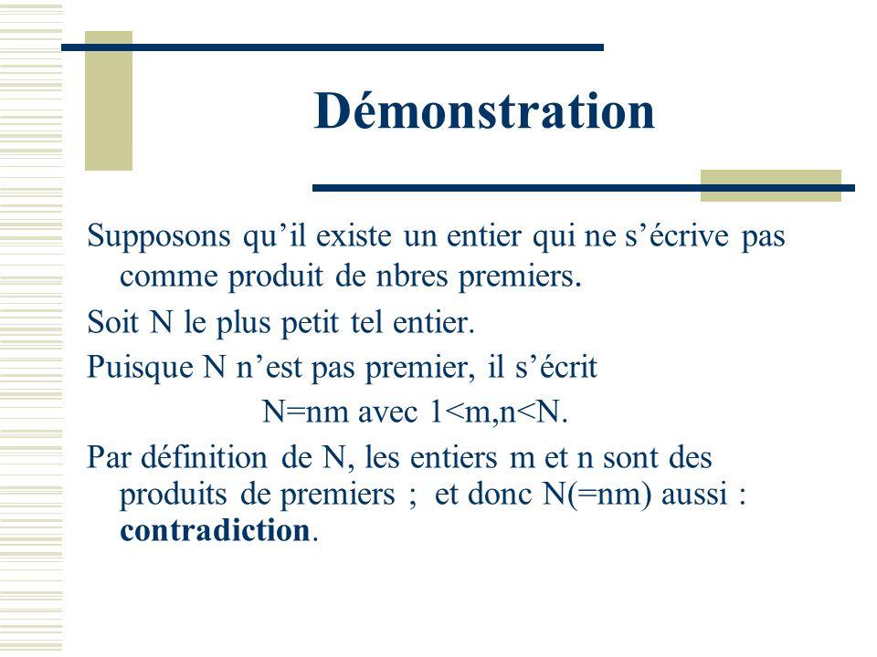 Démonstration Supposons qu'il existe un entier qui ne s'écrive pas comme produit de nbres premiers.