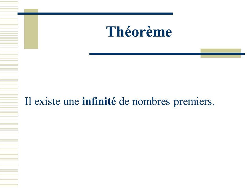 Théorème Il existe une infinité de nombres premiers.