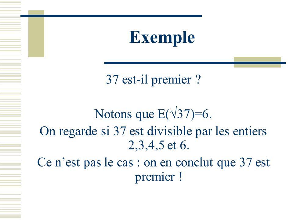 Exemple 37 est-il premier Notons que E(√37)=6.