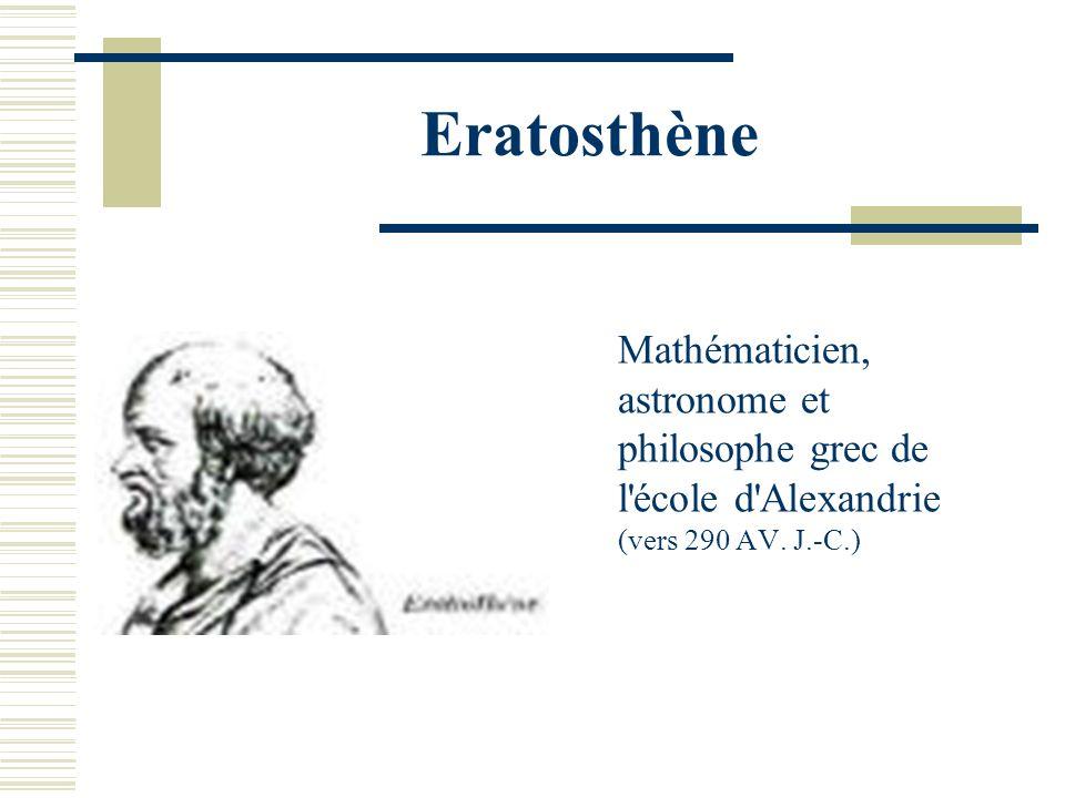 Eratosthène Mathématicien, astronome et philosophe grec de l école d Alexandrie (vers 290 AV.