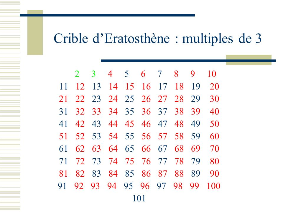 Crible d'Eratosthène : multiples de 3