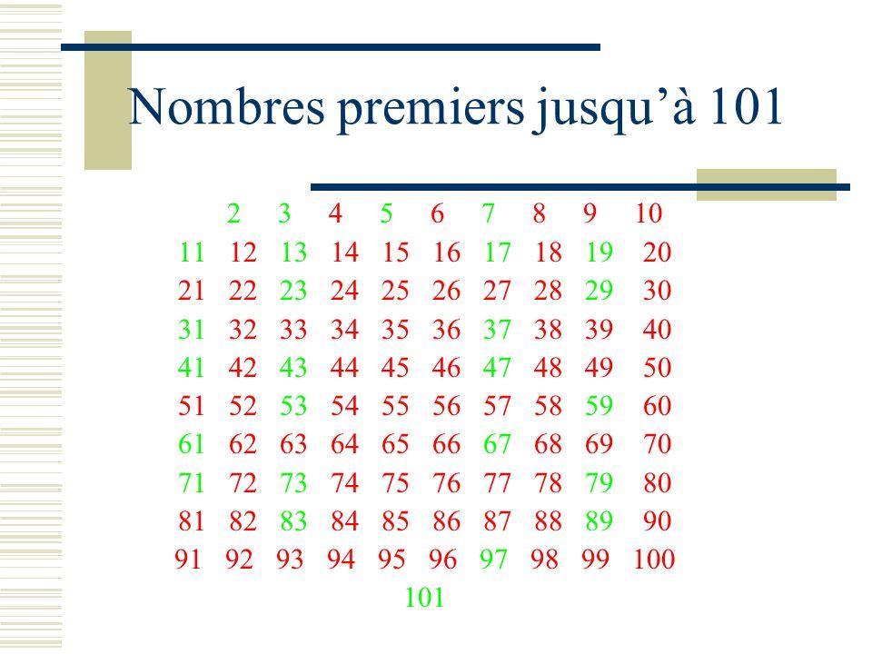 Nombres premiers jusqu'à 101