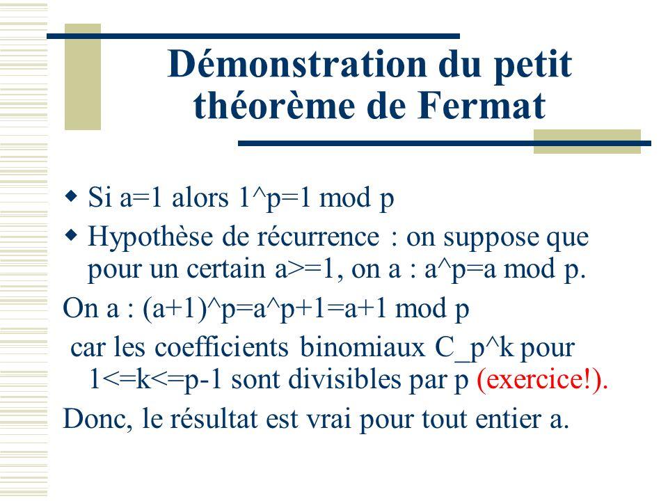 Démonstration du petit théorème de Fermat