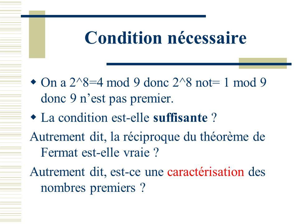 Condition nécessaire On a 2^8=4 mod 9 donc 2^8 not= 1 mod 9 donc 9 n'est pas premier. La condition est-elle suffisante