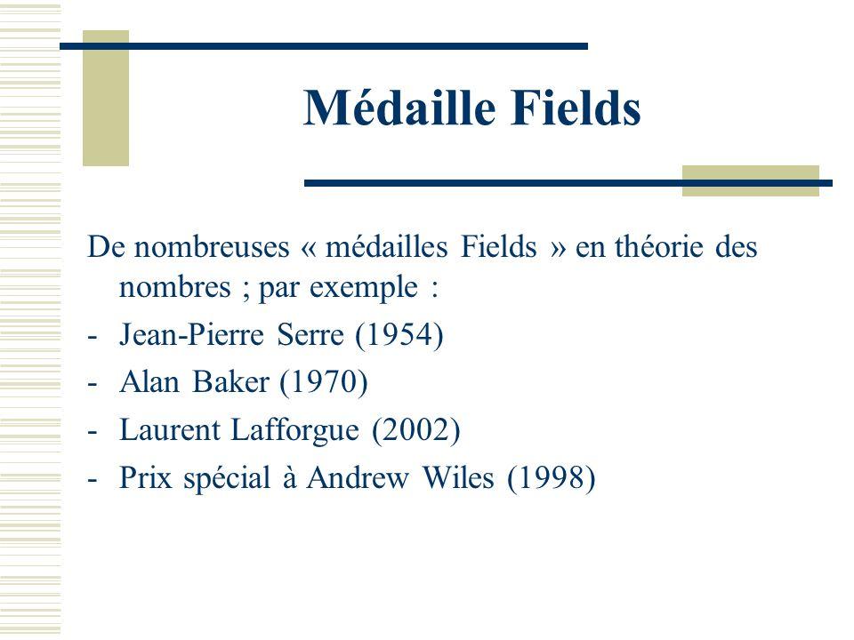 Médaille Fields De nombreuses « médailles Fields » en théorie des nombres ; par exemple : Jean-Pierre Serre (1954)