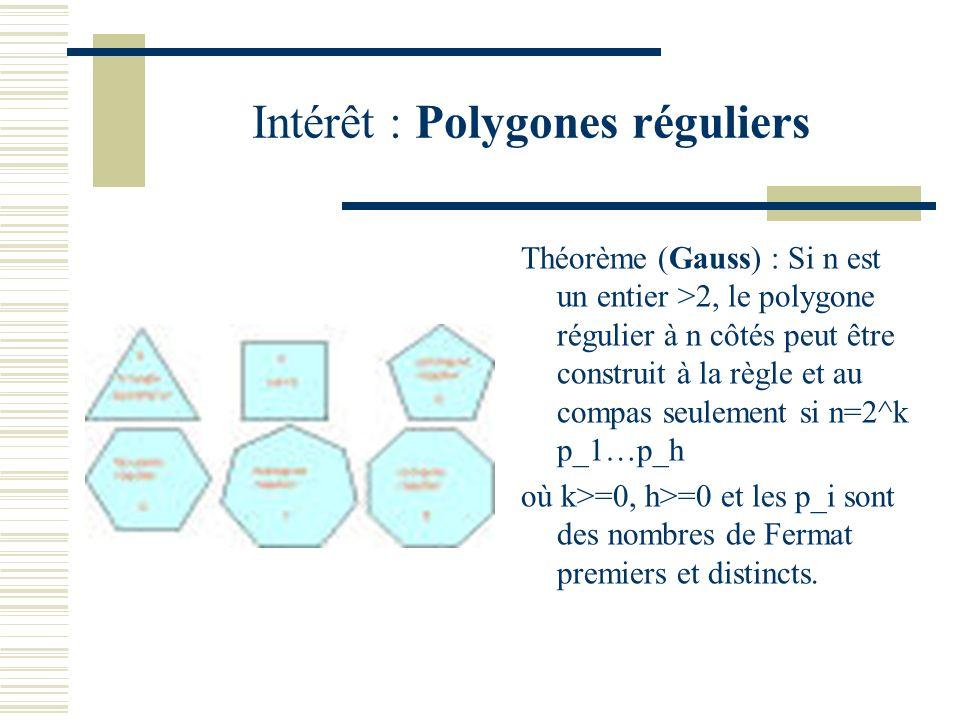 Intérêt : Polygones réguliers