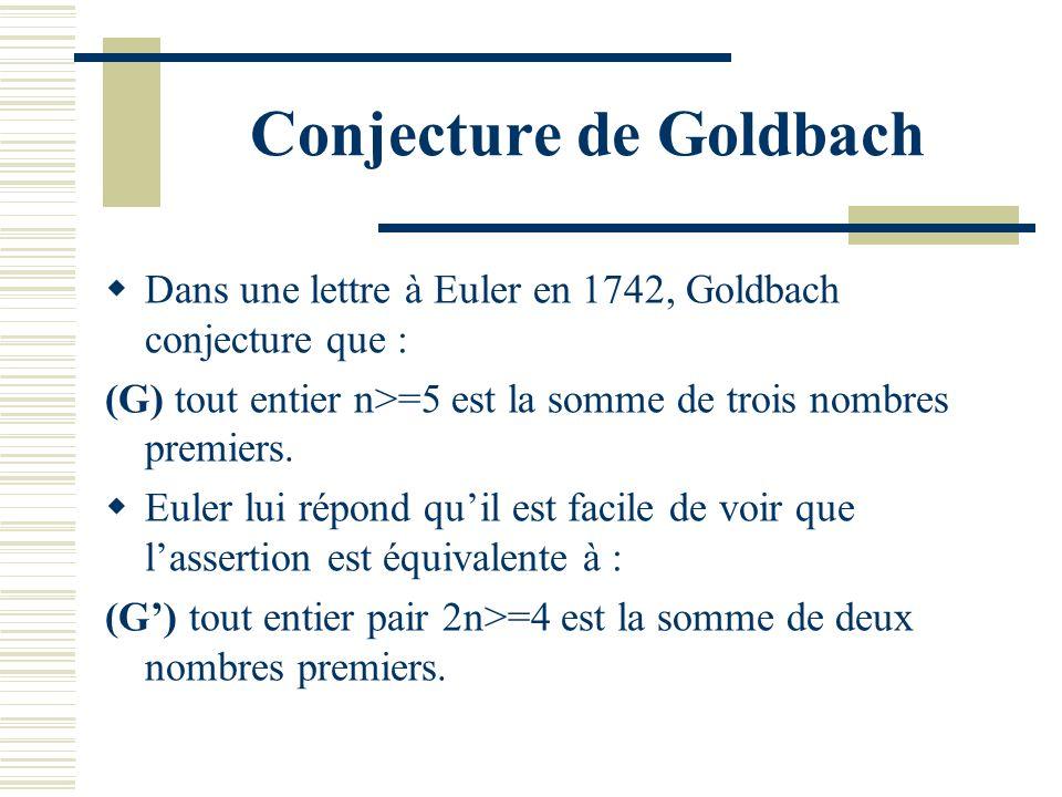 Conjecture de Goldbach