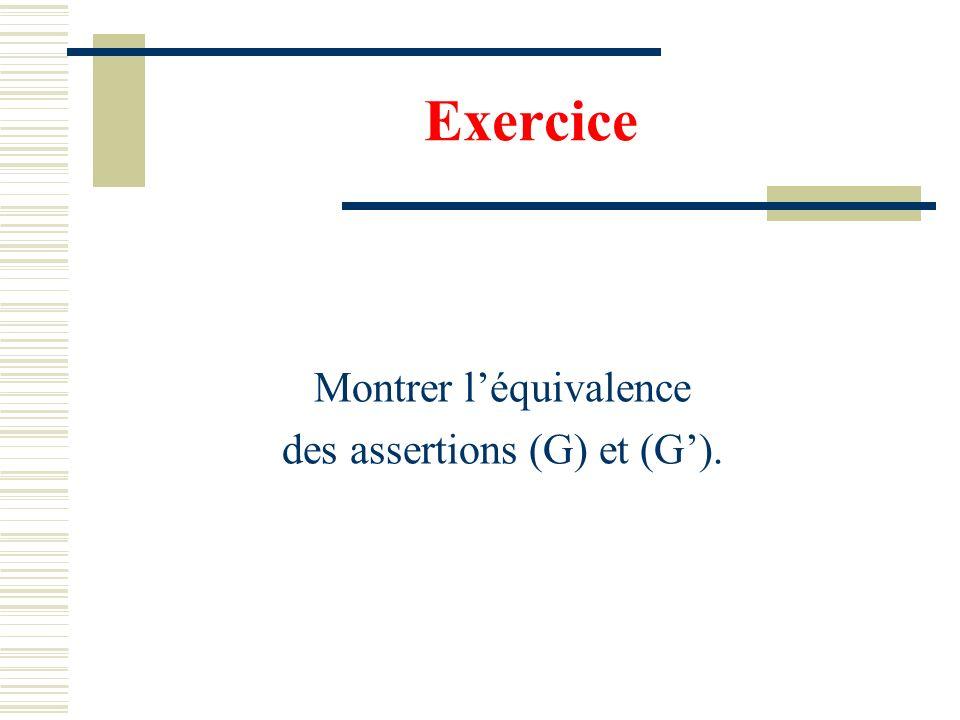 Exercice Montrer l'équivalence des assertions (G) et (G').