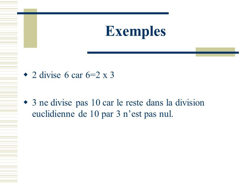 Exemples 2 divise 6 car 6=2 x 3.