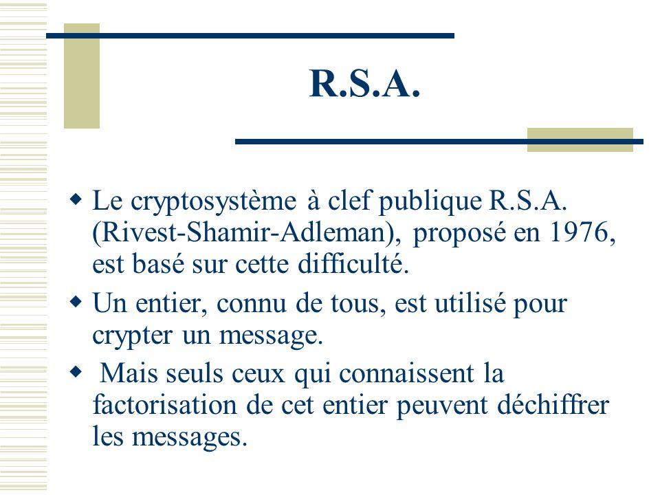 R.S.A. Le cryptosystème à clef publique R.S.A. (Rivest-Shamir-Adleman), proposé en 1976, est basé sur cette difficulté.
