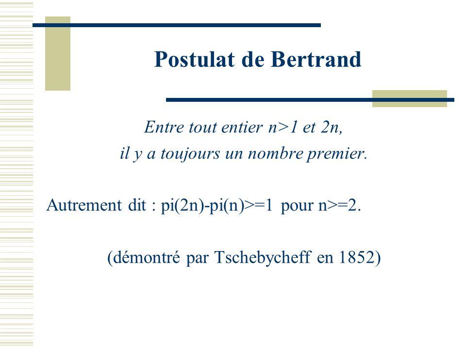 Postulat de Bertrand Entre tout entier n>1 et 2n,