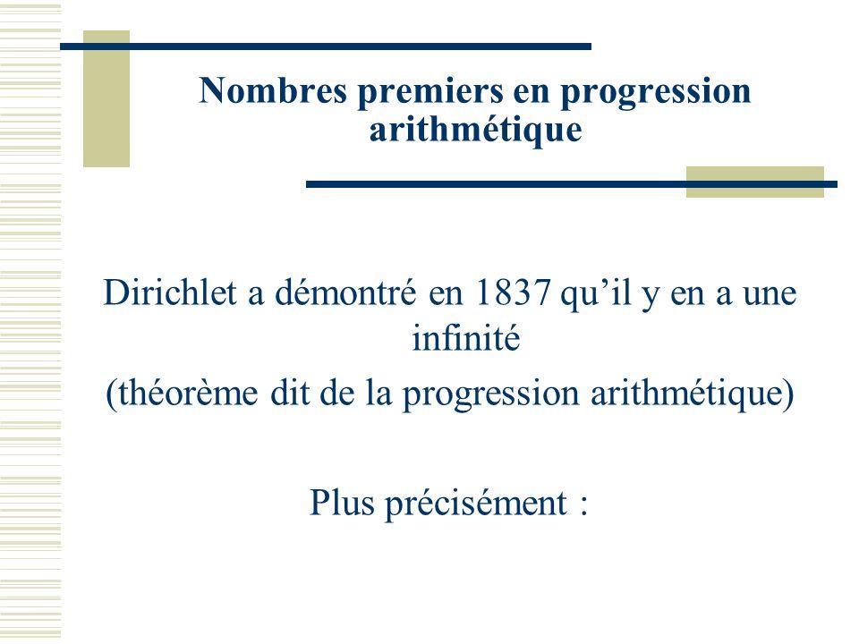 Nombres premiers en progression arithmétique