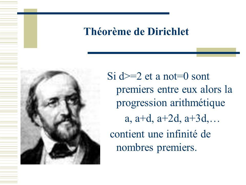 Théorème de Dirichlet Si d>=2 et a not=0 sont premiers entre eux alors la progression arithmétique.