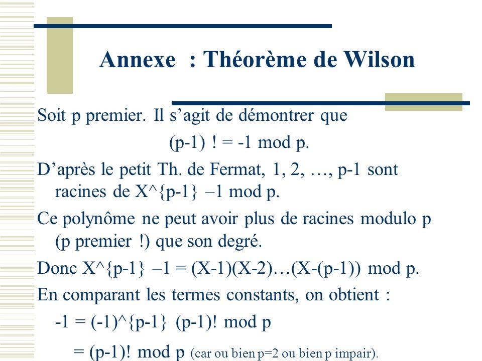 Annexe : Théorème de Wilson