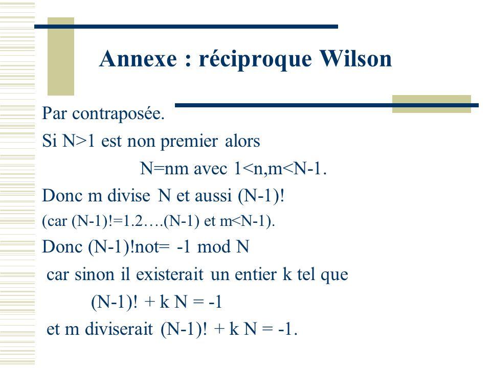 Annexe : réciproque Wilson