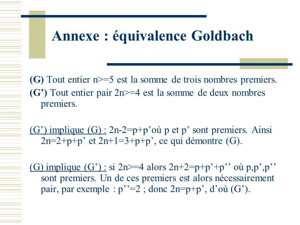 Annexe : équivalence Goldbach