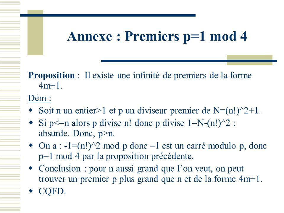 Annexe : Premiers p=1 mod 4