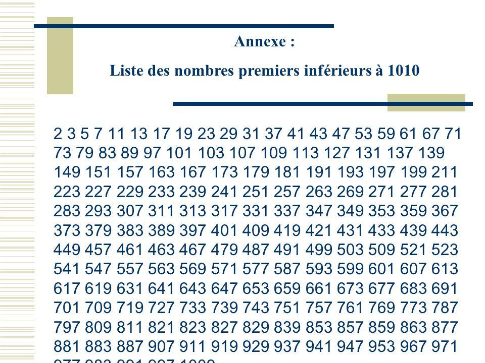 Liste des nombres premiers inférieurs à 1010