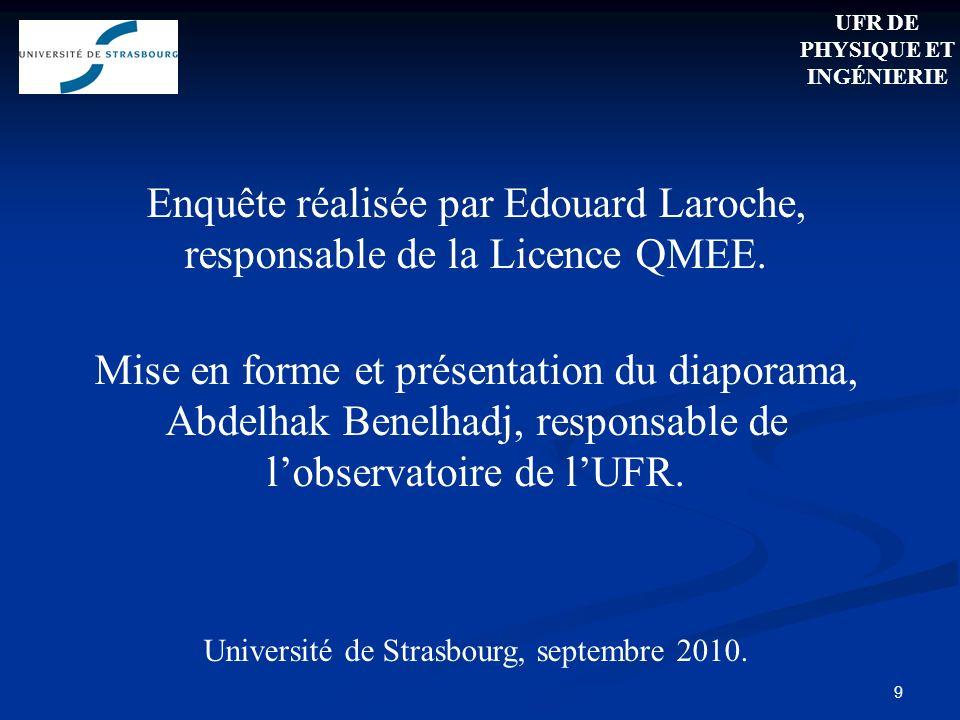 Enquête réalisée par Edouard Laroche, responsable de la Licence QMEE.