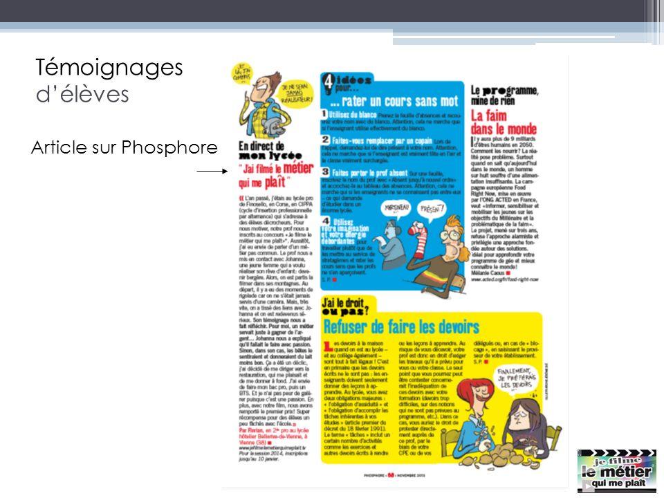 Témoignages d'élèves Article sur Phosphore