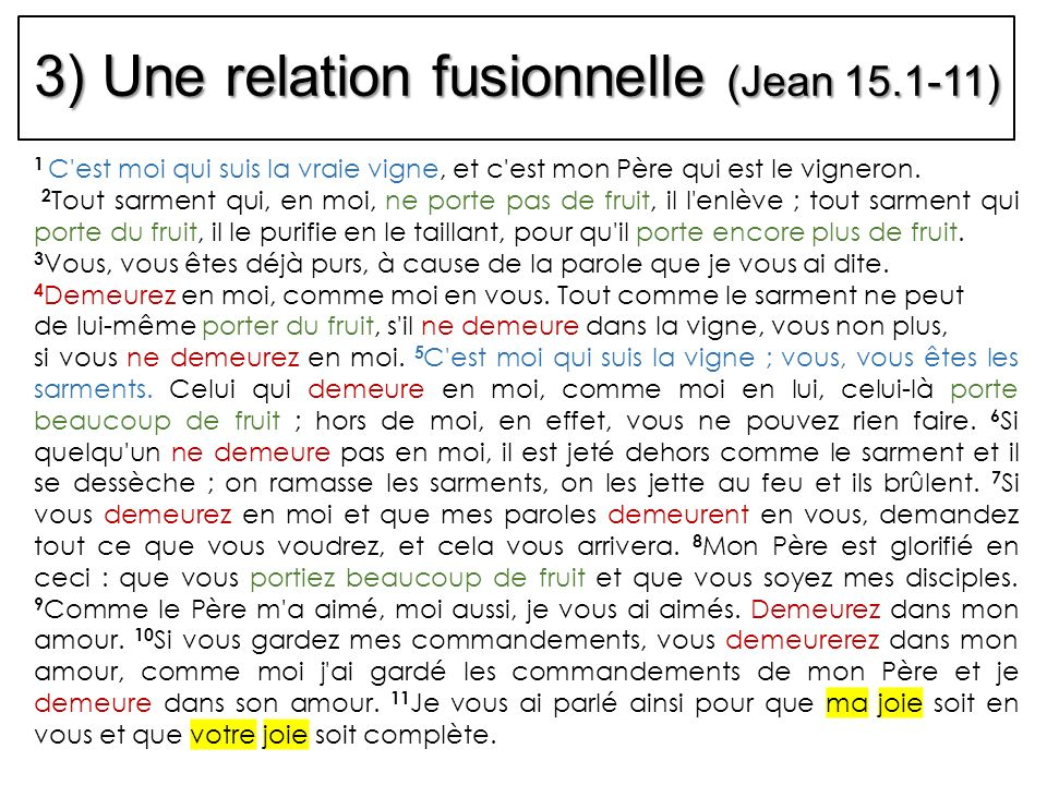 3) Une relation fusionnelle (Jean 15.1-11)
