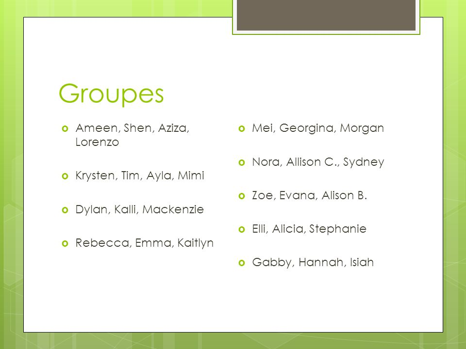 Groupes Ameen, Shen, Aziza, Lorenzo Krysten, Tim, Ayla, Mimi