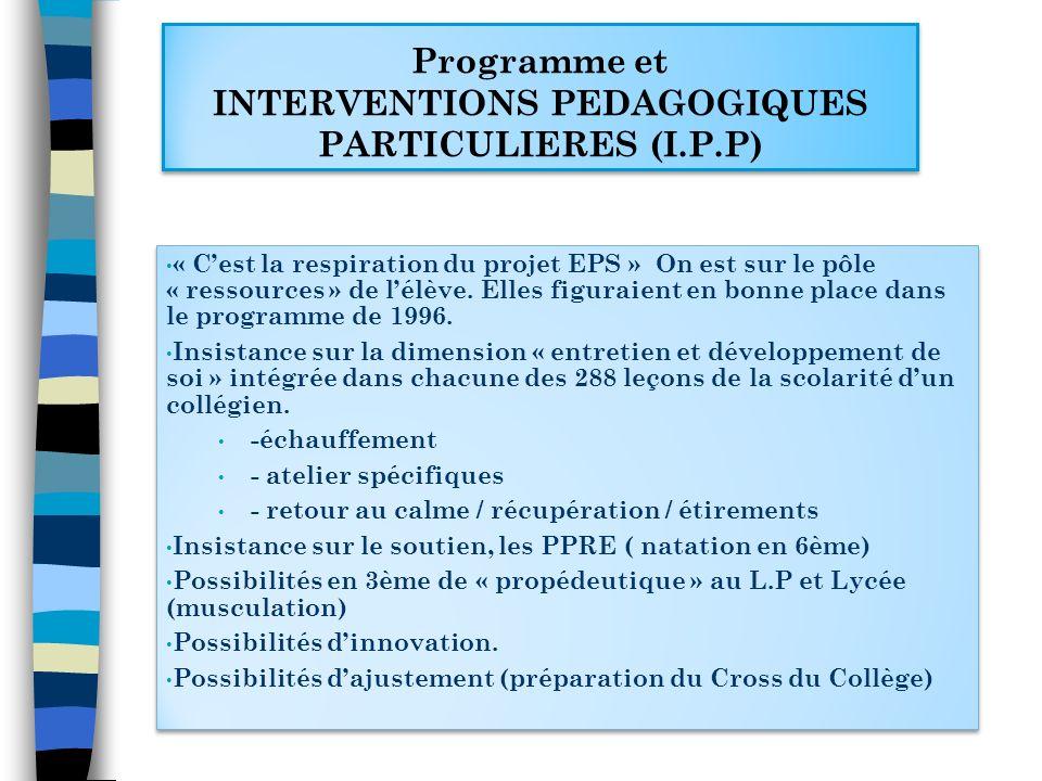Programme et INTERVENTIONS PEDAGOGIQUES PARTICULIERES (I.P.P)