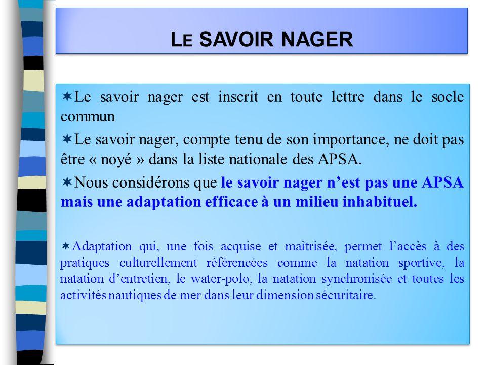 Le SAVOIR NAGER Le savoir nager est inscrit en toute lettre dans le socle commun.