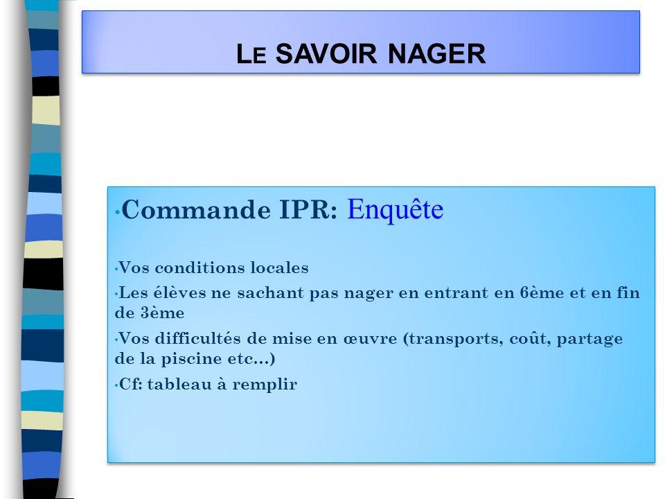 Le SAVOIR NAGER Commande IPR: Enquête Vos conditions locales